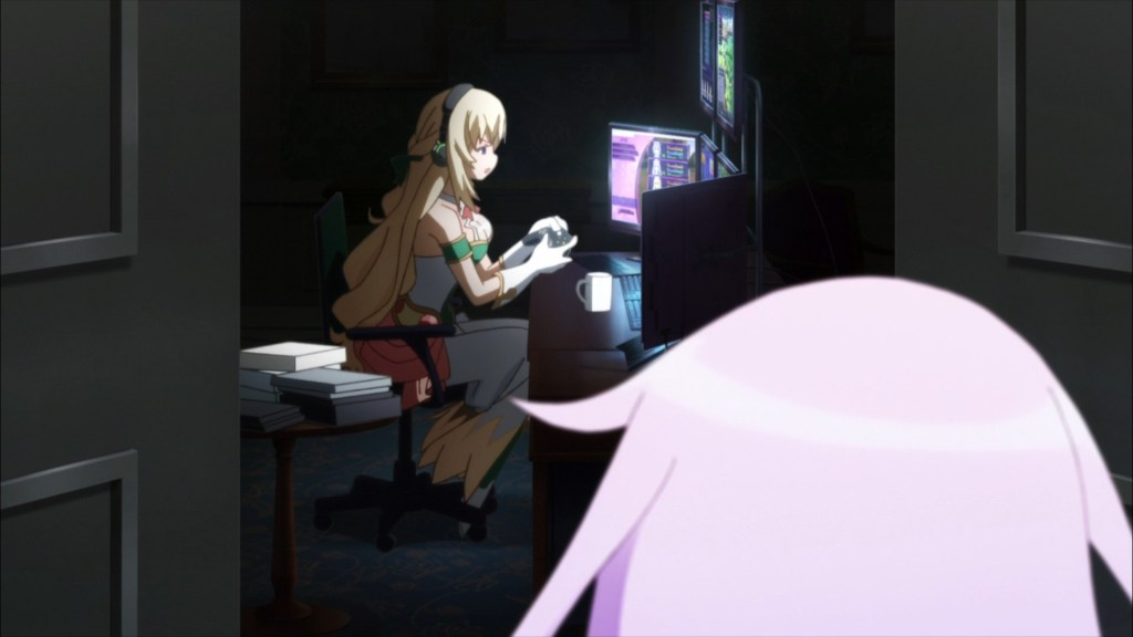 Vert's in her room, playing  her games...